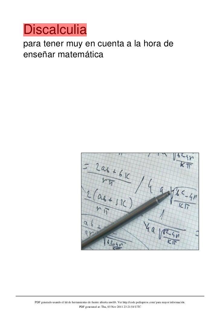 Discalculiapara tener muy en cuenta a la hora deenseñar matemática  PDF generado usando el kit de herramientas de fuente a...
