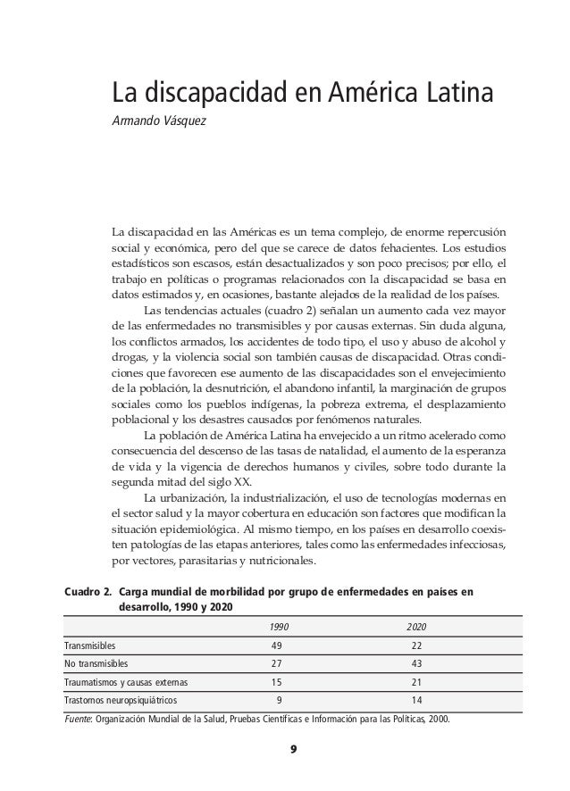 La discapacidad en América Latina Armando Vásquez  La discapacidad en las Américas es un tema complejo, de enorme repercus...