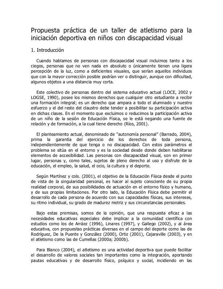 Propuesta práctica de un taller de atletismo para lainiciación deportiva en niños con discapacidad visual1. Introducción  ...
