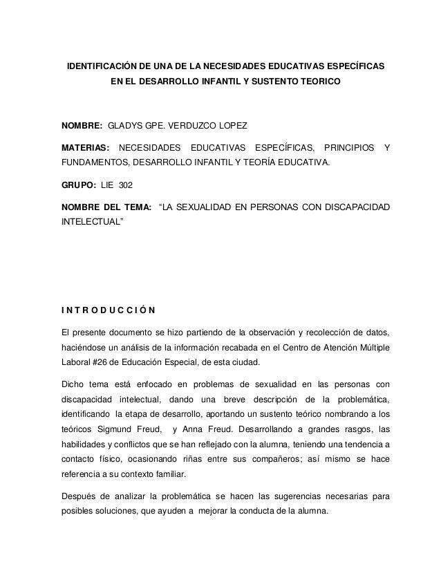 IDENTIFICACIÓN DE UNA DE LA NECESIDADES EDUCATIVAS ESPECÍFICAS             EN EL DESARROLLO INFANTIL Y SUSTENTO TEORICONOM...