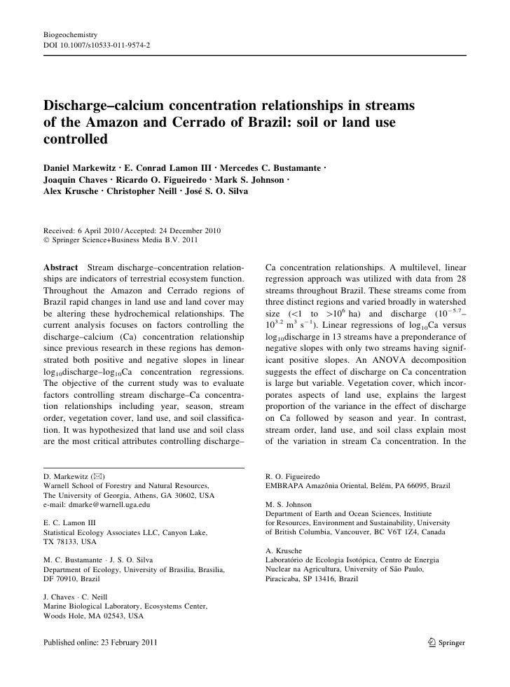 BiogeochemistryDOI 10.1007/s10533-011-9574-2Discharge–calcium concentration relationships in streamsof the Amazon and Cerr...