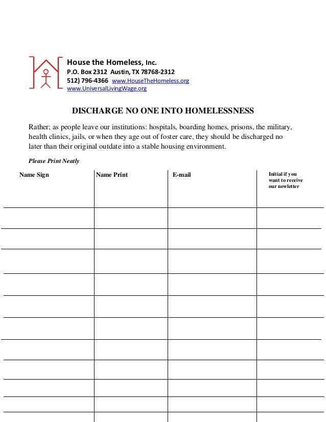 House the Homeless, Inc.                P.O. Box 2312 Austin, TX 78768-2312                512) 796-4366 www.HouseTheHomel...