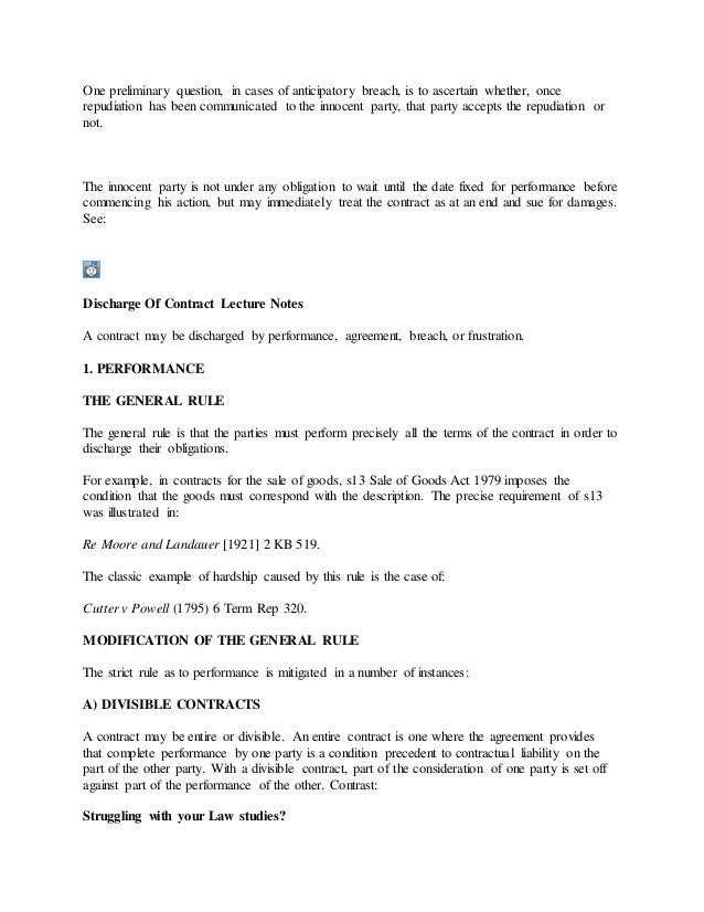 Discharge Of Contract Lecture Notes