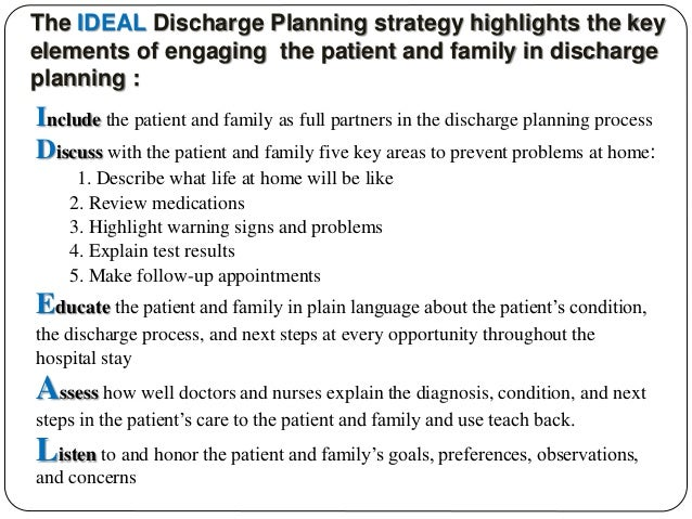 nursing process discharge plan A discharge plan must be developed by a registered nurse (rn), a social worker  or other appropriately qualified personnel, and it should be.