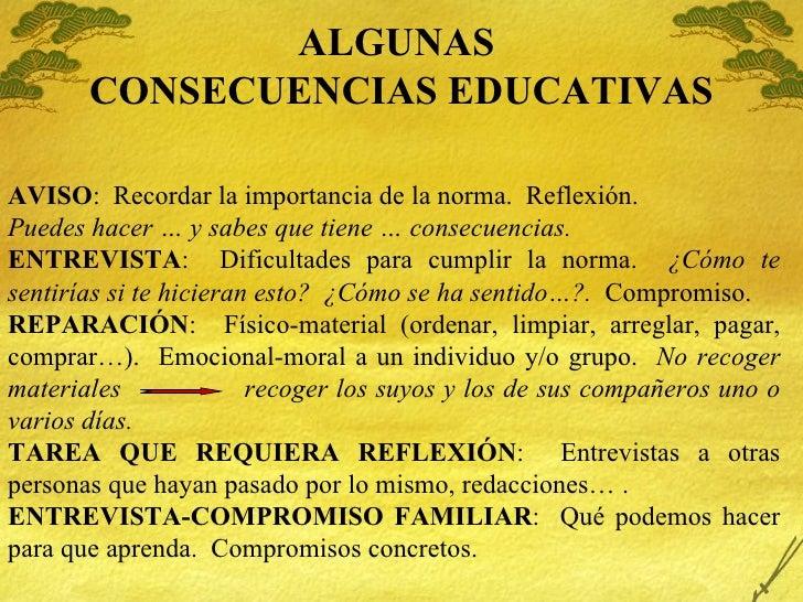 ALGUNAS  CONSECUENCIAS EDUCATIVAS AVISO :  Recordar la importancia de la norma.  Reflexi ón. Puedes hacer … y sabes que ti...