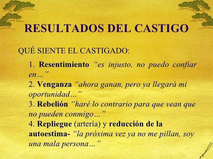 """RESULTADOS DEL CASTIGO <ul><ul><ul><li>1.  Resentimiento   """"es injusto, no puedo confiar en…"""" </li></ul></ul></ul><ul><ul>..."""