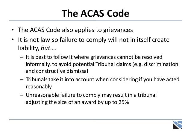 Disciplinaries grievances and settlement discussions organisational changes 20 the acas code platinumwayz