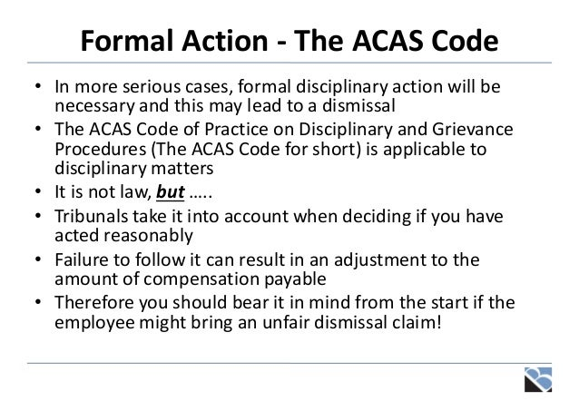 Disciplinaries grievances and settlement discussions future proceedings 8 formal action the acas code platinumwayz