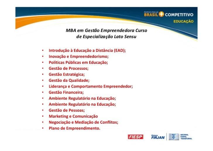 MBA em Gestão Empreendedora Curso   de Especialização Lato Sensu