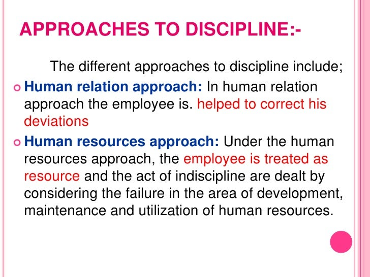 A Values Based Approach To Discipline >> Discipline