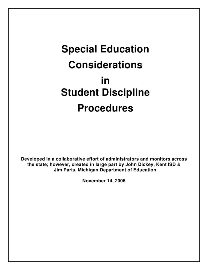 Special Education                     Considerations                          in                  Student Discipline      ...
