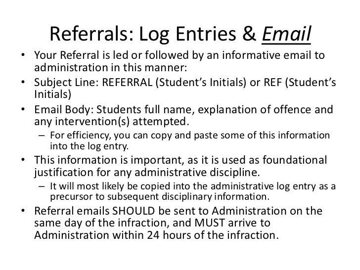 Referrals Log Entries Emailo