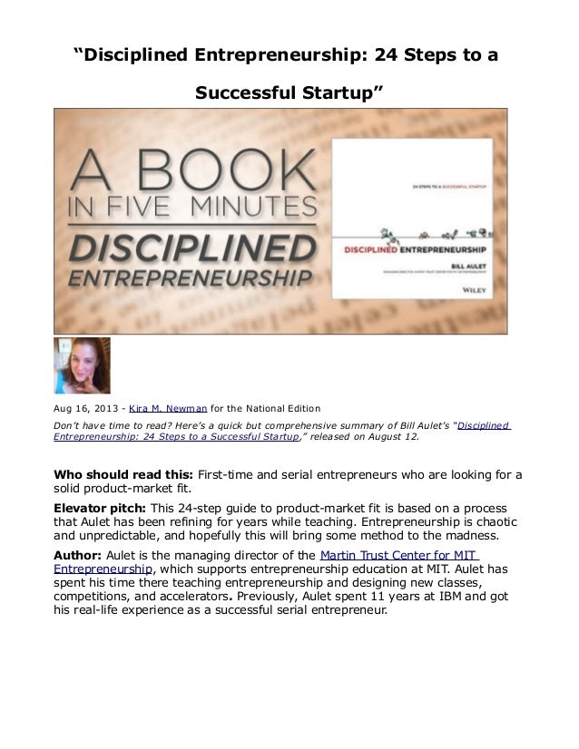"""""""Disciplined Entrepreneurship: 24 Steps to a Successful Startup""""  Aug 16, 2013 - Kira M. Newman for the National Edition D..."""