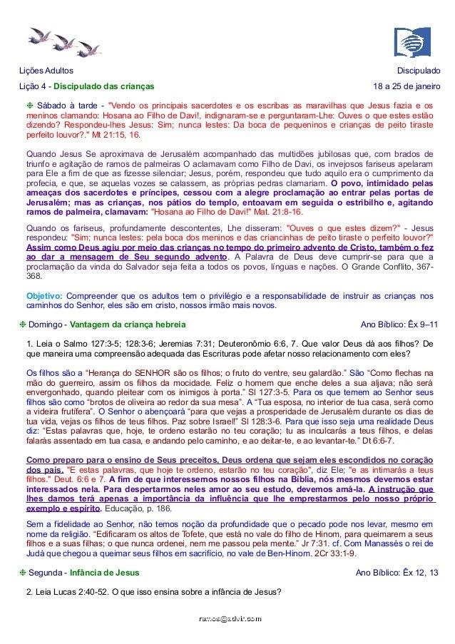 """Lições Adultos  Discipulado  Lição 4 - Discipulado das crianças  18 a 25 de janeiro  ❉ Sábado à tarde - """"Vendo os principa..."""