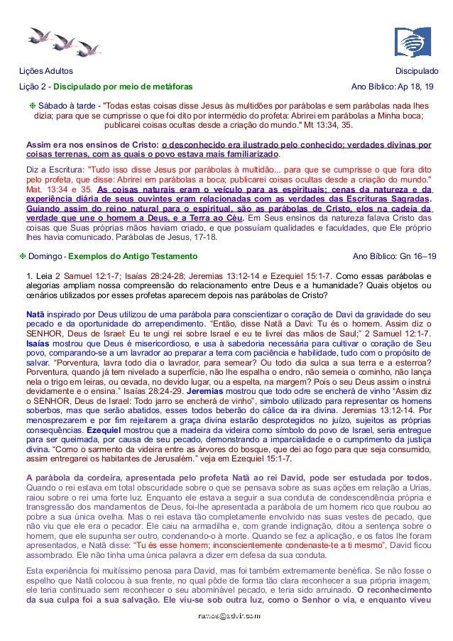 """Lições Adultos  Discipulado  Lição 2 - Discipulado por meio de metáforas  Ano Bíblico: Ap 18, 19  ❉ Sábado à tarde - """"Toda..."""