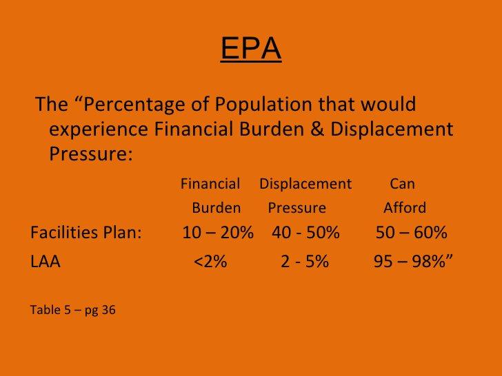 "EPA <ul><li>The ""Percentage of Population that would experience Financial Burden & Displacement Pressure: </li></ul><ul><l..."