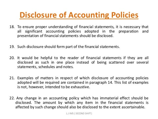 disclosure of accounting policies