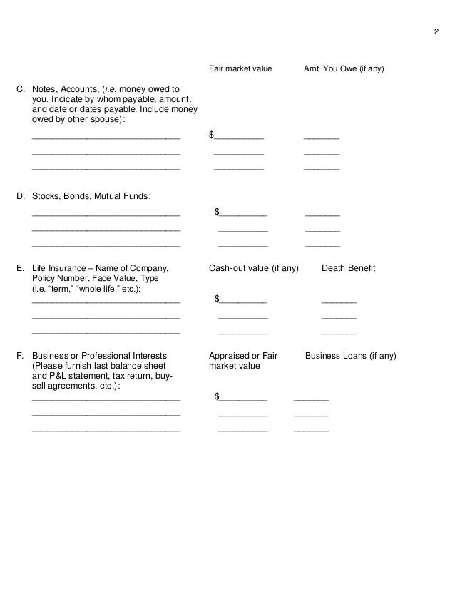Disclosures worksheet for premarital agreements and ...