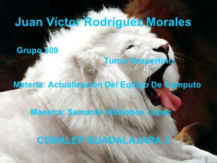 Juan Víctor Rodríguez Morales Grupo 309 Turno Vespertino Materia: Actualización Del Equipo De Computo CONALEP GUADALAJARA ...