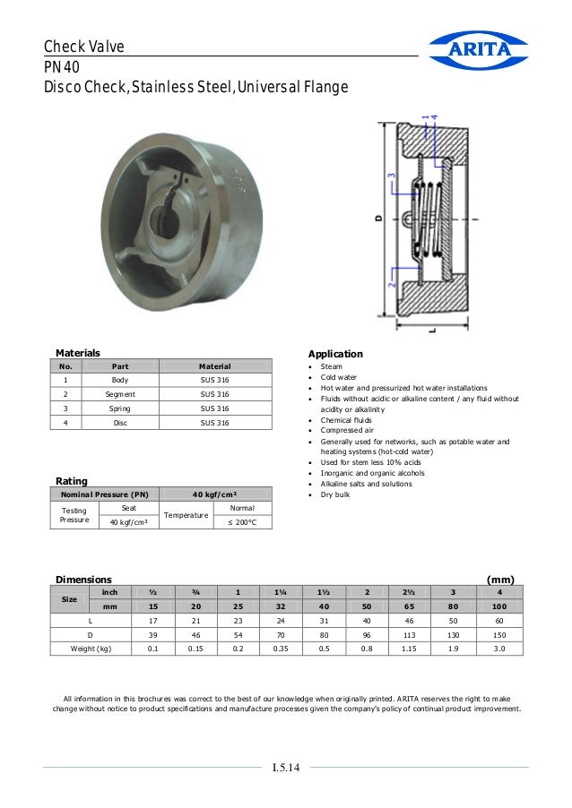 Check Valve PN 40 Disco Check, Stainless Steel, Universal Flange  Materials  Application  No.  Part  Material  1  Body  SU...