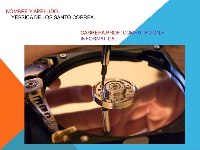 NOMBRE Y APELLIDO: YESSICA DE LOS SANTO CORREA. CARRERA PROF: COMPUTACION E INFORMATICA.