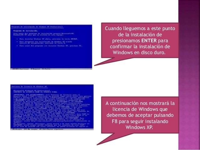 Ahora prepararemos el disco duro para instalar los archivos de Windows XP. Seleccionamos una partición si la hubiese y la ...