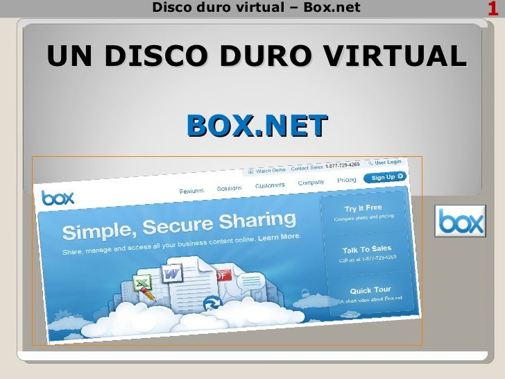 UN DISCO DURO VIRTUAL  BOX.NET Disco duro virtual – Box.net