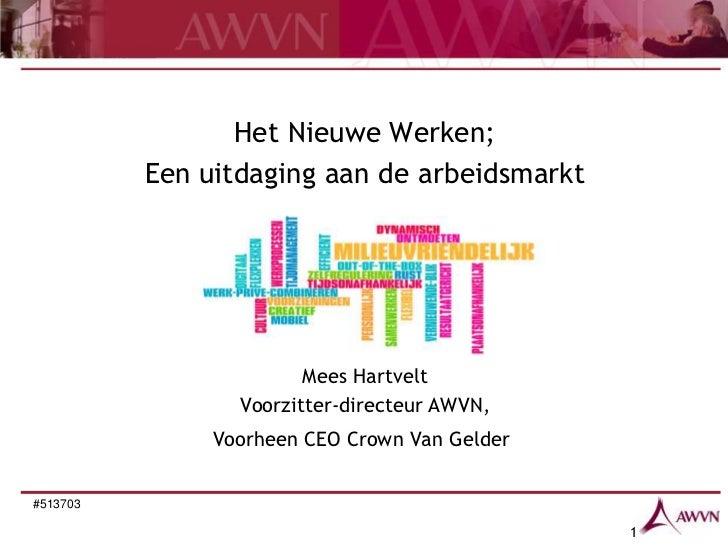 Het Nieuwe Werken;          Een uitdaging aan de arbeidsmarkt                        Mees Hartvelt                 Voorzit...