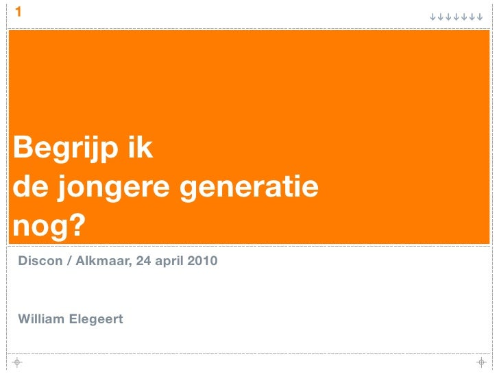 1     Begrijp ik de jongere generatie nog? Discon / Alkmaar, 24 april 2010    William Elegeert