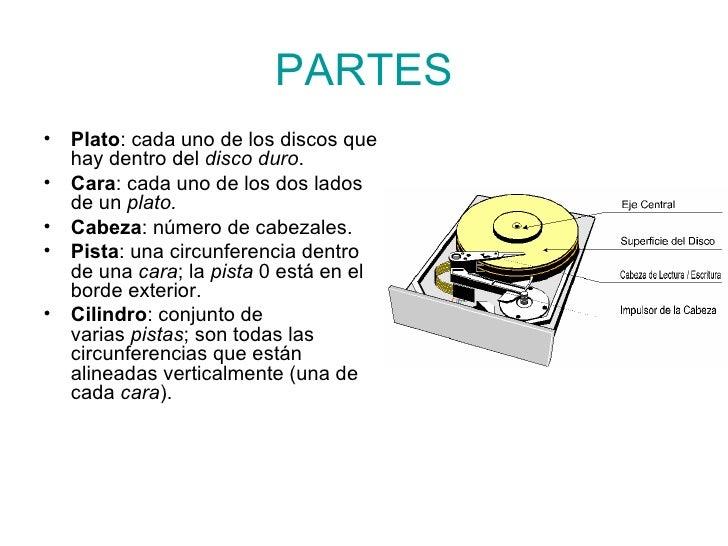 PARTES <ul><li>Plato : cada uno de los discos que hay dentro del disco duro . </li></ul><ul><li>Cara : cada uno de los do...