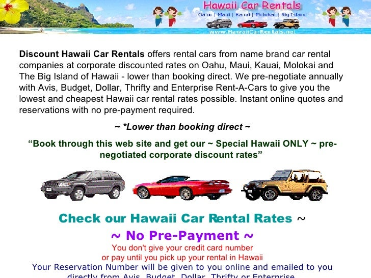 Discount hawaii car rental coupon