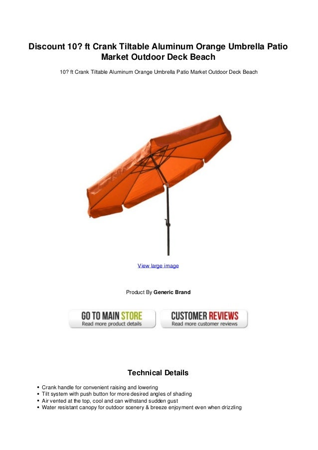 Patio Umbrella Crank Diagram: Discount 10 Ft Crank Tiltable Aluminum Orange Umbrella