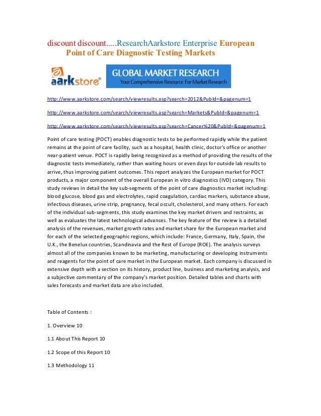 discount discount.....ResearchAarkstore Enterprise European     Point of Care Diagnostic Testing Marketshttp://www.aarksto...