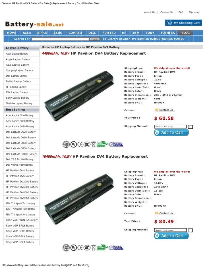 Discount HP Pavilion DV4 Battery For Sale @ Replacement Battery for HP Pavilion DV4                                       ...