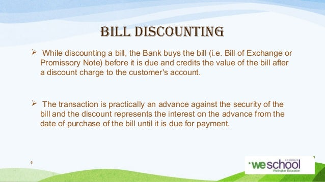 bill discounting Introduction export bill discounting means that bank of china buys from the exporter the undue time draft accepted by banks or the undue debt claim honored by banks.