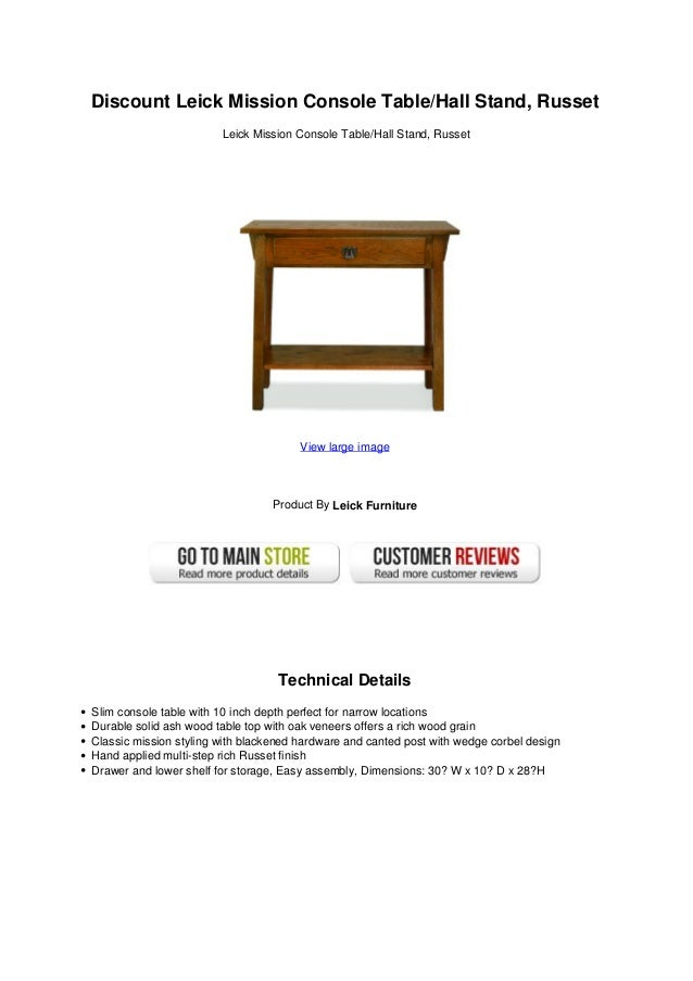 Delightful Discount Leick Mission Console Table/Hall Stand, RussetLeick Mission  Console Table/Hall Stand ...