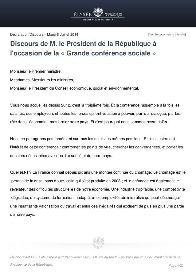 Déclaration/Discours - Mardi 8 Juillet 2014 [Voir le document sur le site] Discours de M. le Président de la République à ...