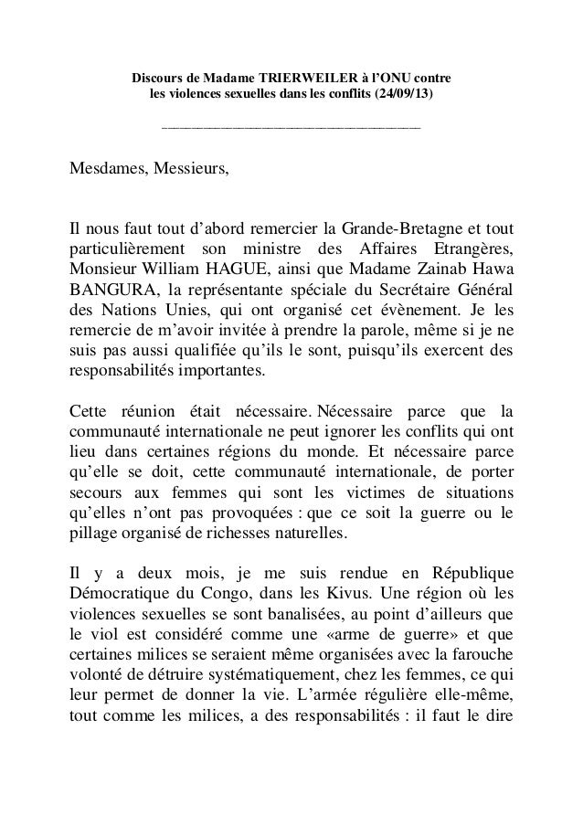 Discours de Madame TRIERWEILER à l'ONU contre les violences sexuelles dans les conflits (24/09/13) _______________________...
