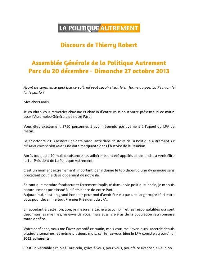 Discours de Thierry Robert Assemblée Générale de la Politique Autrement Parc du 20 décembre - Dimanche 27 octobre 2013 Ava...