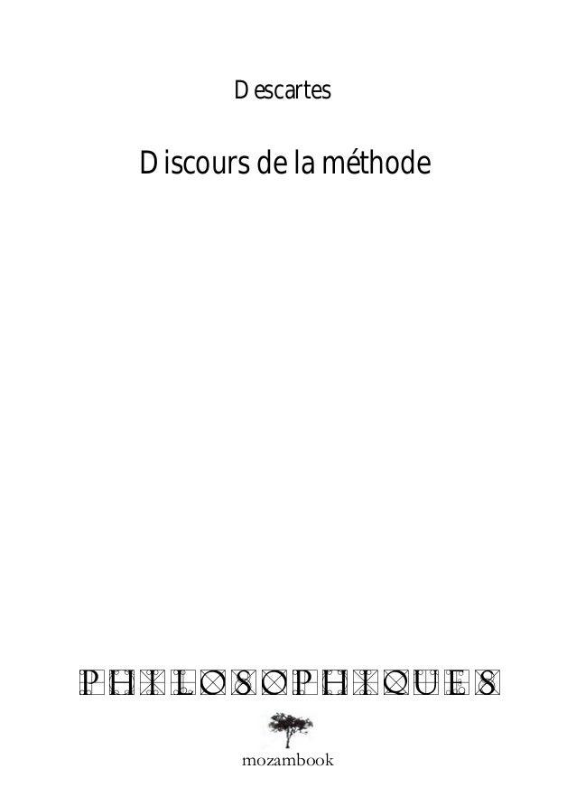 Descartes Discours de la méthodephilosophiques        mozambook