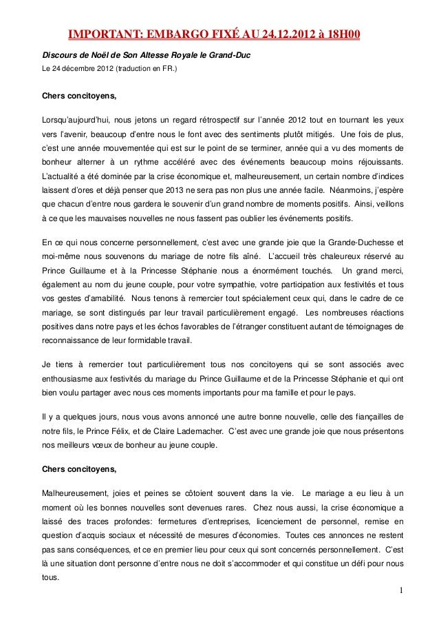 IMPORTANT: EMBARGO FIXÉ AU 24.12.2012 à 18H00Discours de Noël de Son Altesse Royale le Grand-DucLe 24 décembre 2012 (tradu...