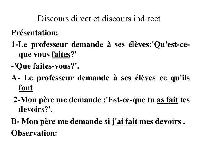 Discours direct et discours indirectPrésentation:1-Le professeur demande à ses élèves:Quest-ce-que vous faites?-Que faites...