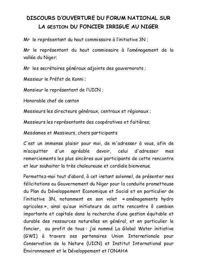 Discours d 39 ouverture du directeur cabinet - Monsieur le directeur de cabinet ...