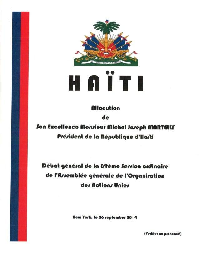 Discours du Président de la République d'Haiti aux Nations Unies.