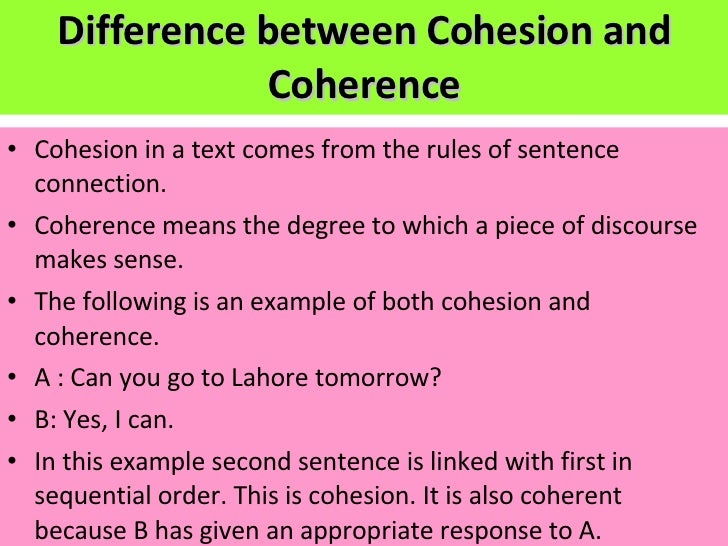 An essay on cohesion in written discourse in the english language