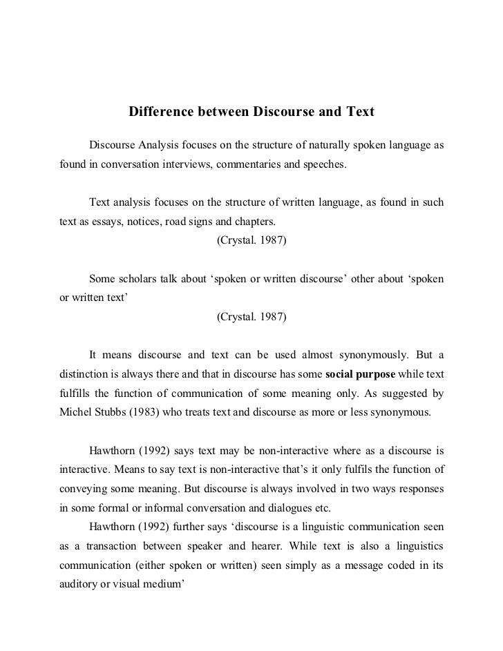 spoken discourse essay Discourse markers in expository essays written by indonesian discourse markers distinguishes the style of the texts either spoken or written (castro.