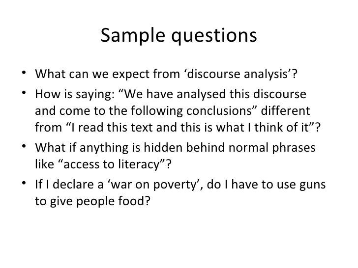 term paper discourse analysis Discourse is a term becoming increasingly common in a wide range of academic and non-academic contexts discourse can be defined.