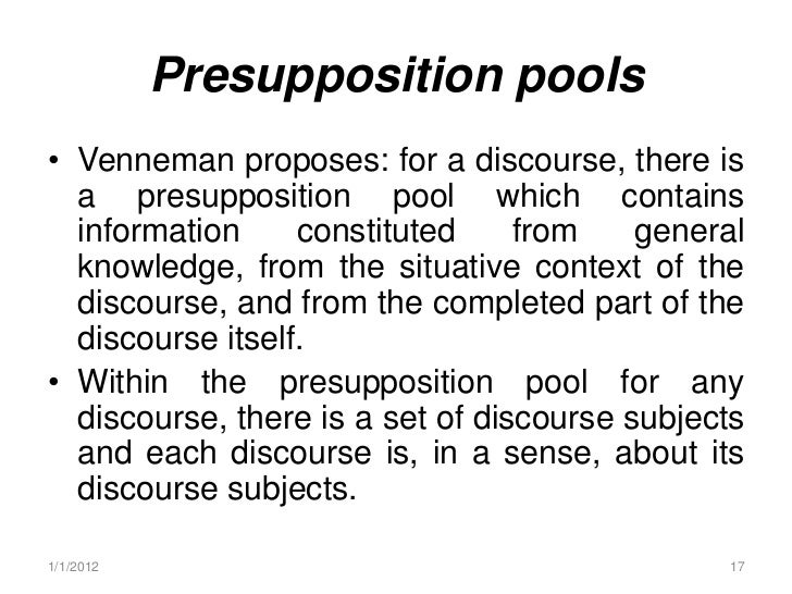 discourse analysis features of context Pragmatics and discourse analysis chapter 2  , but will match sentences with propositions relative to features of the context in which the sentence is used.