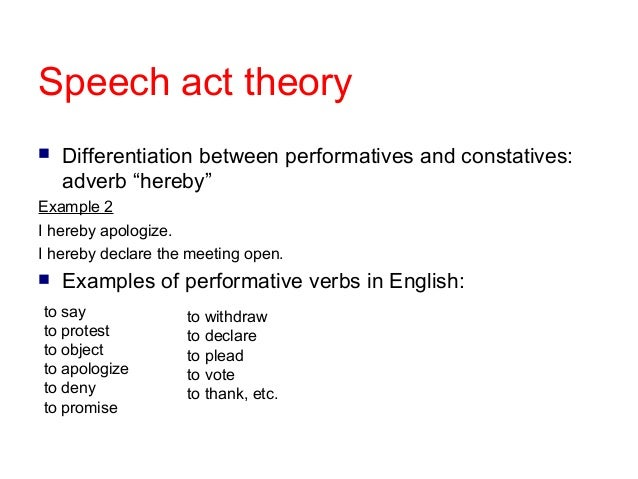 speech act theory and application in Part i a theory of speech acts: 1 methods and scope2 expressions, meaning and speech acts3 the structure of illocutionary acts4 reference as a speech act5 predicationpart ii some applications of the theory: 6 three fallacies in contemporary philosophy7 problems of reference8 deriving 'ought' from 'is'index.