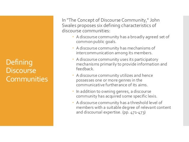 discourse communities 3 in the concept of discourse community